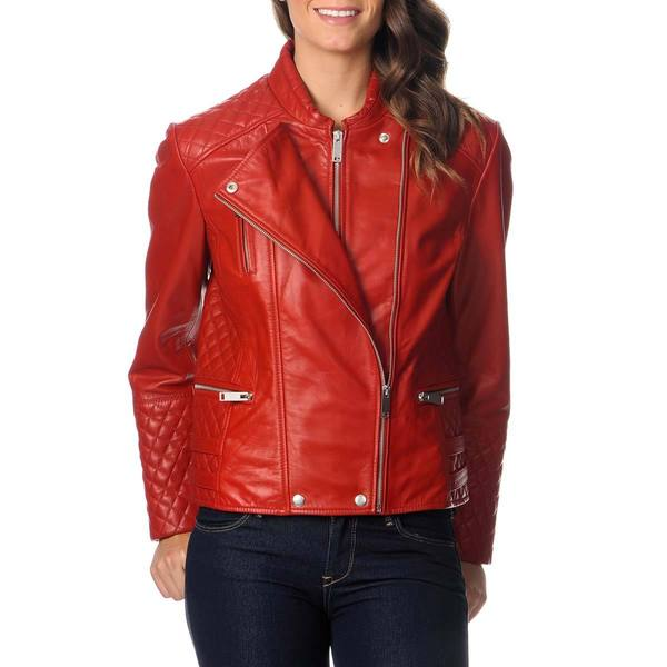 Excelled Women's Red Leather Motorcycle Jacket