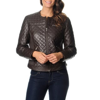 Excelled Women's Brown Quilted Leather Jacket
