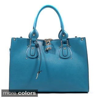 Emperia Studded Fashion Tote Bag with Lock Accent & Bonus Strap