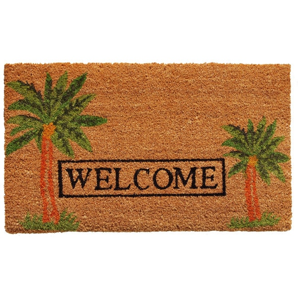 """Palm Welcome-Coir with Vinyl Backing Doormat (17"""" x 29"""")"""