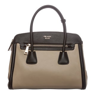 Prada Women's 'Cuir and City' Sand/ Black Calf Leather Tote