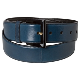 Prada 'Madras' Dark Bue Leather Belt