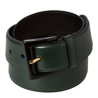 Prada 'Madras' Hunter Green Leather Belt