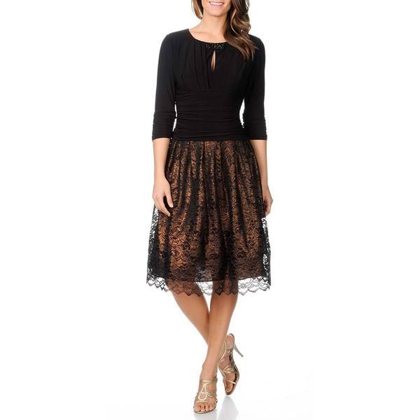 S.L Fashions Women's Metallic Lace Party Dress