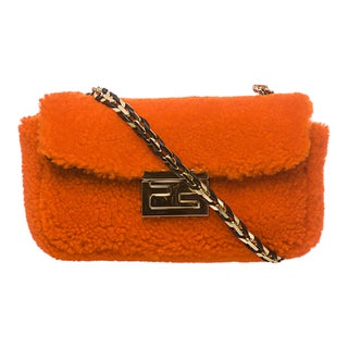 Fendi 'Be' Orange Textured Mini Baguette Bag