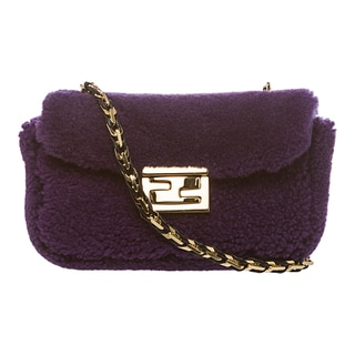 Fendi 'Be' Purple Textured Mini Baguette Bag
