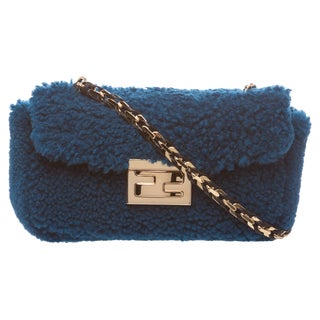Fendi 'Be' Blue Textured Mini Baguette Bag