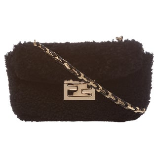 Fendi 'Be' Black Textured Mini Baguette Bag