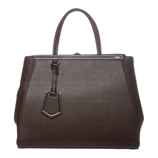 Fendi '2Jours' Medium Brown/ Blue Colorblocked Leather Shopper