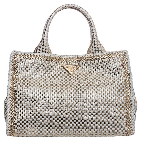 Prada \u0026#39;Madras\u0026#39; Small Two-tone Woven Leather Metallic Tote ...