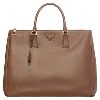 Prada Large Tan Saffiano Leather Top Handle Tote