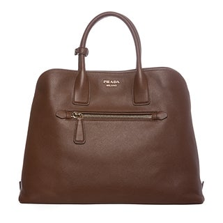 Prada Brown Saffiano Leather Tote Purse