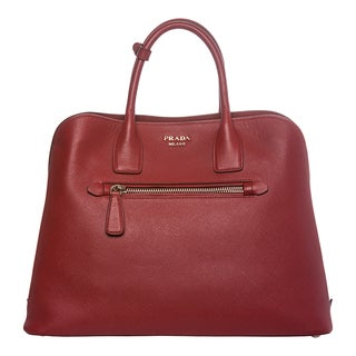 Prada Red Saffiano Leather Tote