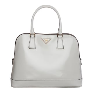 Prada 'Spazzolato' White Brushed Leather Satchel