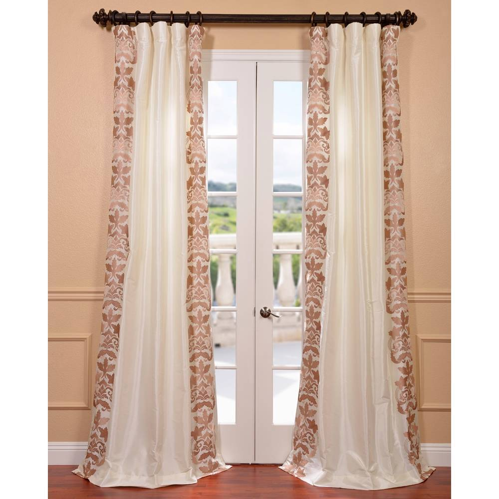 EFF Lyon Creme Embroidered Faux Silk Curtain Panel at Sears.com