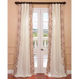 Lyon Creme Embroidered Faux Silk Curtain Panel