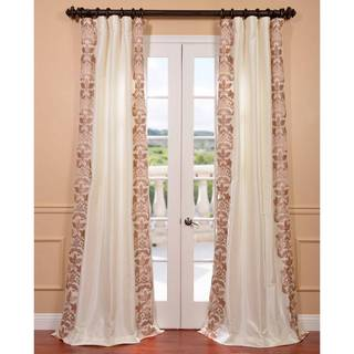 Lyon Crme Embroidered Faux Silk Curtain