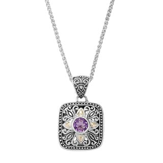 18k Yellow Gold and Sterling Silver Amethyst Necklace