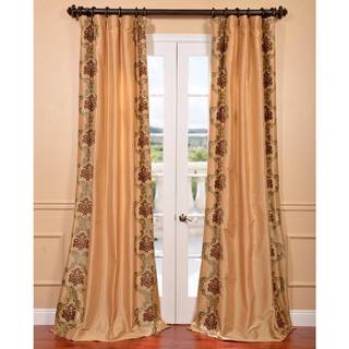 St. Tropez Gold Embroidered Faux Silk Curtain Panel