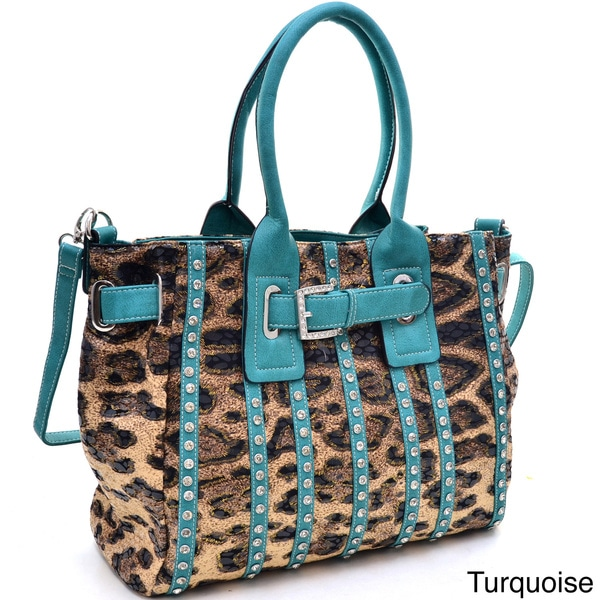 Belted Leopard Print Fashion Tote Bag