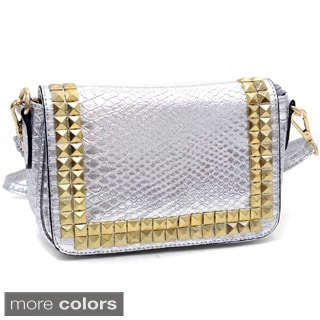 Mini Snakeskin Embossed Messenger Bag