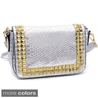 Mini Snakeskin Embossed Messenger Bag with Gold Pyramid Studs