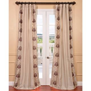 St. Tropez Stone Embroidered Faux Silk Curtain Panel