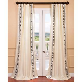 Greco Ivory Embroidered Faux Silk Curtain Panel