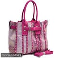 Belted Metallic Croco Embossed Tote