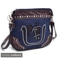 Rhinestone Studded Western Messenger Bag with Horse Cutout Design
