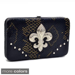 Fleur de Lis Snakeskin Embossed Fashion Frame Wallet