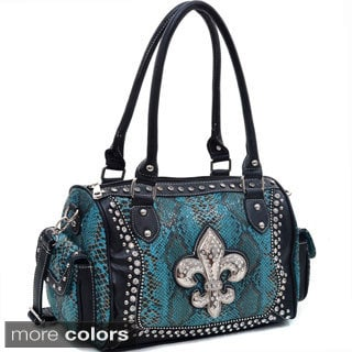 Rhinestone Fleur de Lis Snake Embossed Shoulder Bag