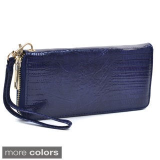 Snake Embossed Zip-around Wallet with Wrist Strap
