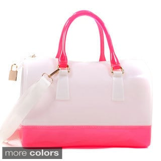 Glossy Two-tone Satchel with Lock