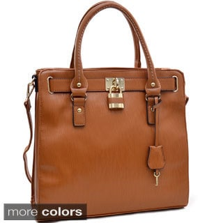 Epi Textured Lock and Key Tassel Satchel