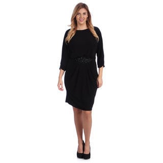 Alex Evenings Women's Plus Black 3/4-sleeve Blouson Dress