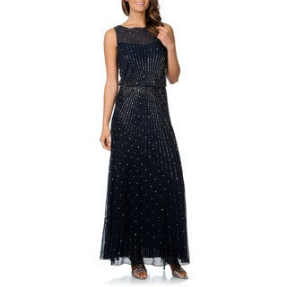 J Laxmi Women's Allover Beaded Gown