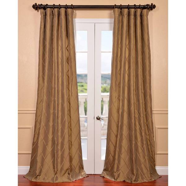 Alexandria Gold Faux Taffeta Silk Curtain Panel
