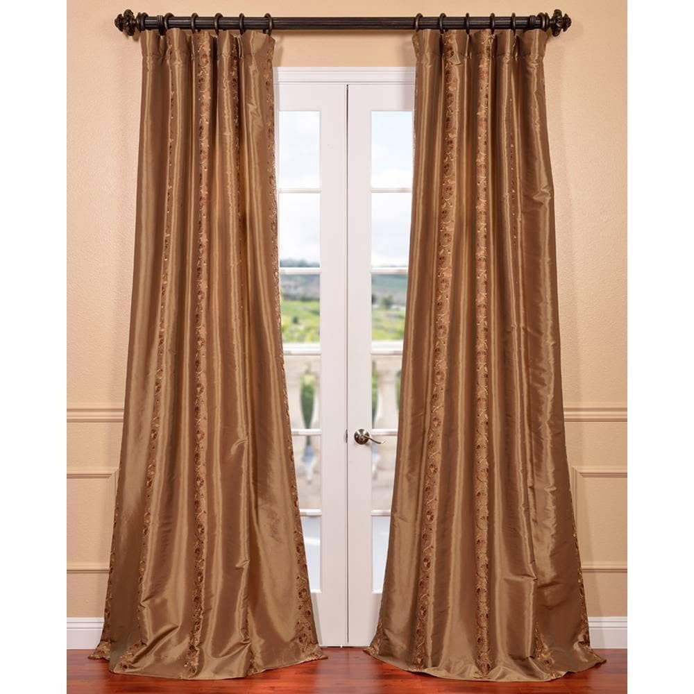 EFF Luxembourg Bronze Embroidered Faux Silk Curtain at Sears.com