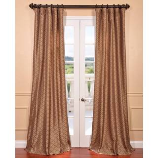 Morraccan Bronze Embroidered Faux Silk Curtain Panel