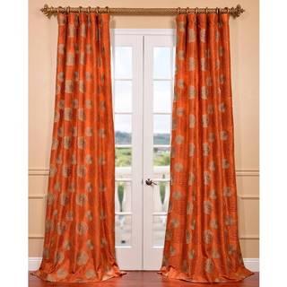 Zen Garden Harvest Orange Embroidered Faux Silk Curtain