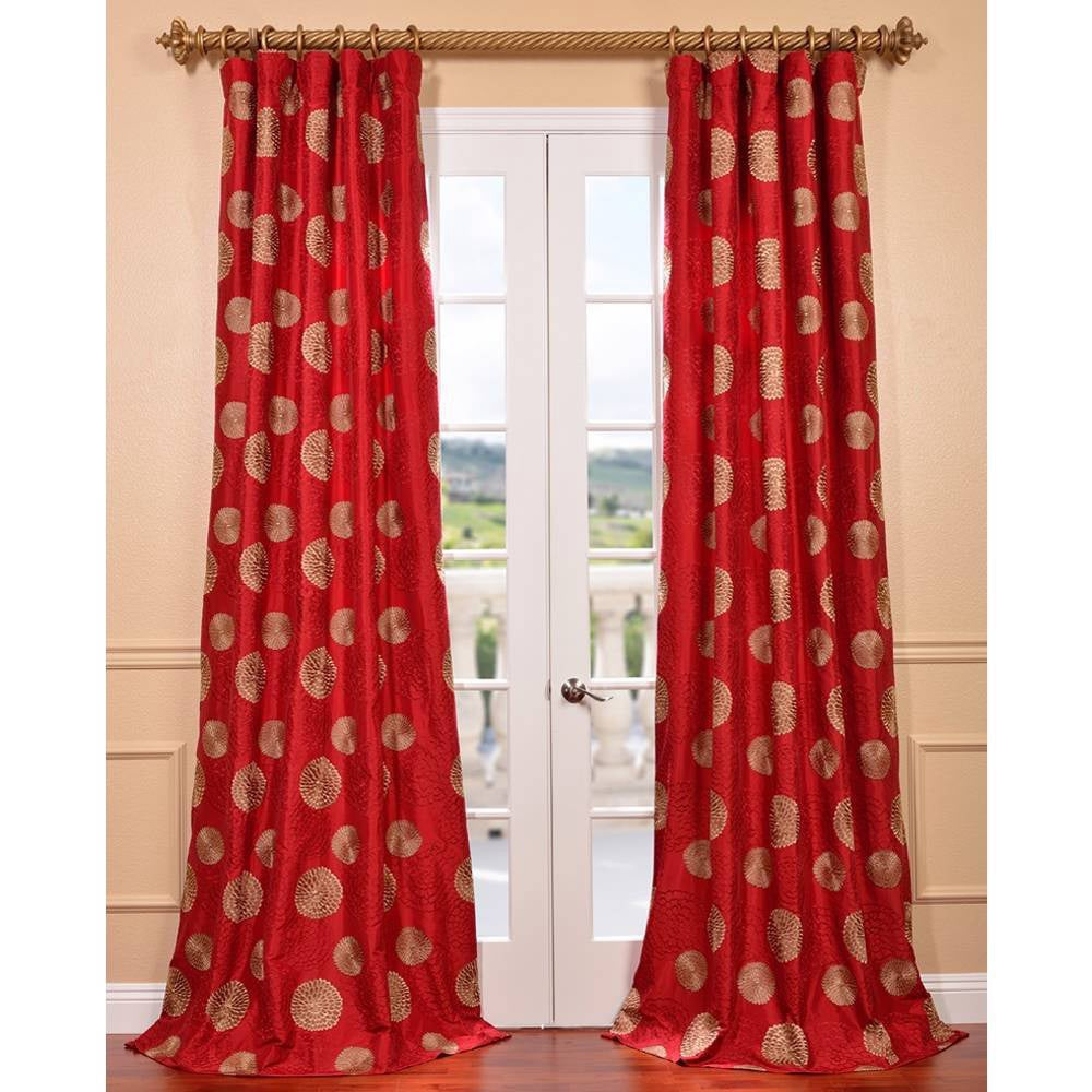 EFF Zen Garden Tango Red Embroidered Faux Silk Curtain Panel
