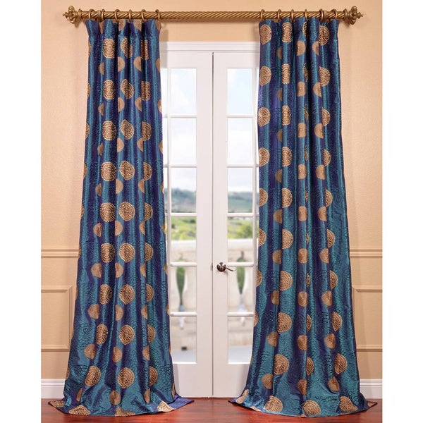 EFF Zen Garden Iridescent Blue Embroidered Faux Silk Curtain