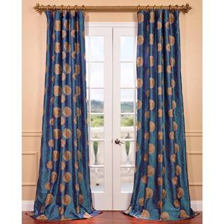 Zen Garden Iridescent Blue Embroidered Faux Silk Curtain