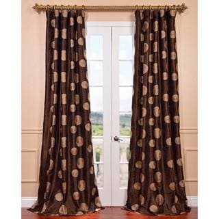 Zen Garden Chocolate Embroidered Faux Silk Curtain Panel
