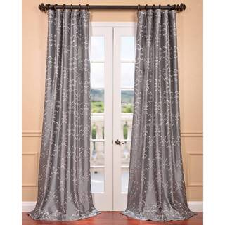 Romanian Silver Embroidered Faux Silk Curtain
