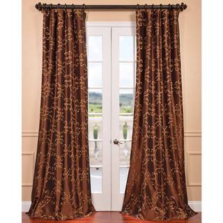 Romanian Copper Embroidered Faux Silk Curtain