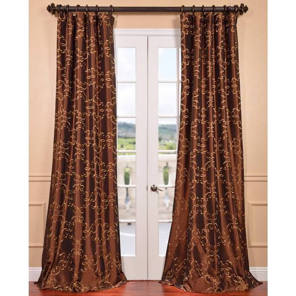 EFF Romanian Copper Embroidered Faux Silk Curtain