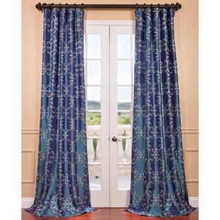 Romanian Iridescent Blue Embroidered Faux Silk Curtain Panel
