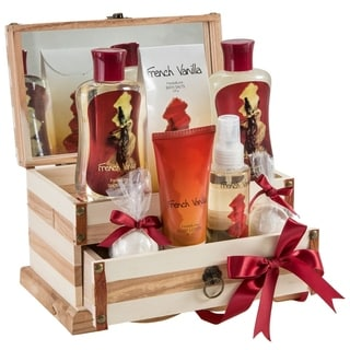 French Vanilla Wooden Jewlery Box with Bath Spa Gift Set
